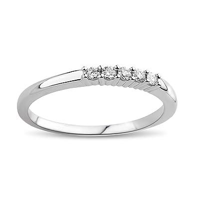 DIAMADA Femme Or Blanc en Diamant Memoire Bague 9kt (375) Brillant 0.1cts - 7a126ded94ae