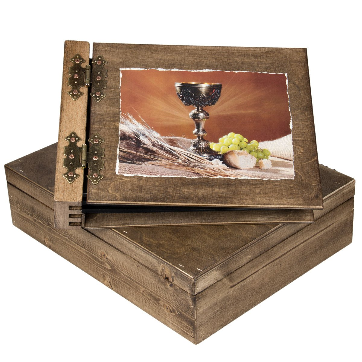 75 Blatt Holz Fotoalbum heiliger Gral mit Holzschatulle