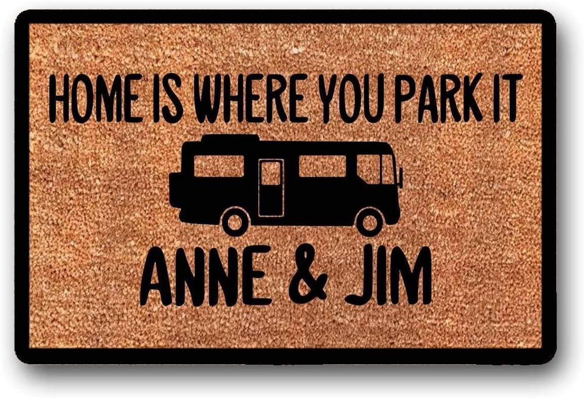 "WYFKYMXX Home is Where You Park It - Personalized Custom - Coir Door Mat - Class A Rv - Motorhome - Camper Doormat 18"" x 30"""