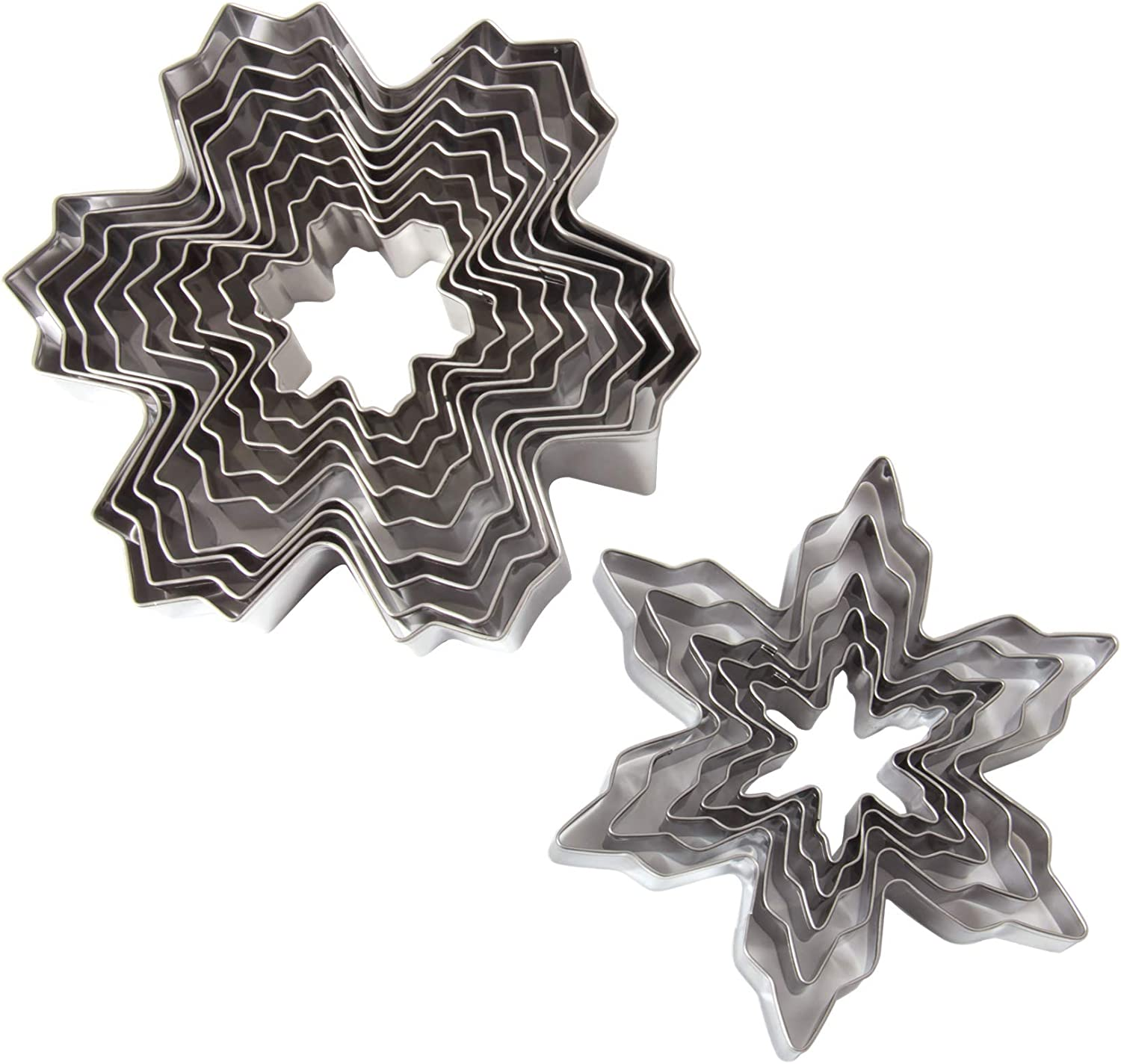 HAPY SHOP Snowflake Cookie Cutters Set 14 PCS Stainless Steel Snowflake Shaped Molds Cake Candy Food Cutters Fondant Decorating Tool for Christmas and Winter Holiday