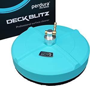 perdura High Pressure Washer Surface Cleaner Attachment - Quick Connect 15 Inch 1000-4200 psi - Contractor Grade Deck Blitz Powerful Cleaning of Concrete Decks Patios Driveways and Sidewalks.