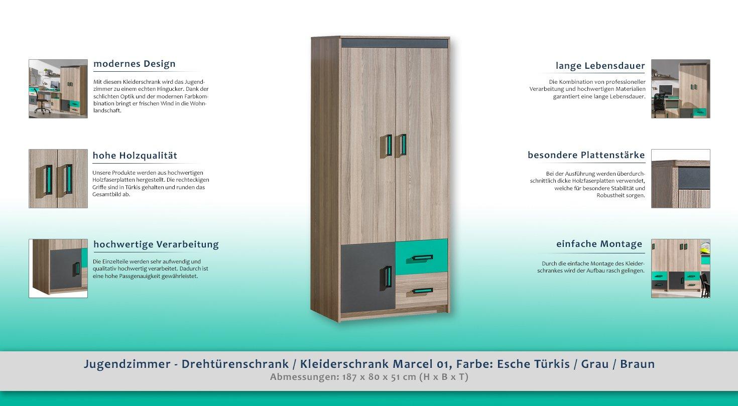 Inspirierend Jugend Kleiderschrank Dekoration Von Türkis / Grau / Braun 187x80x51 Cm: