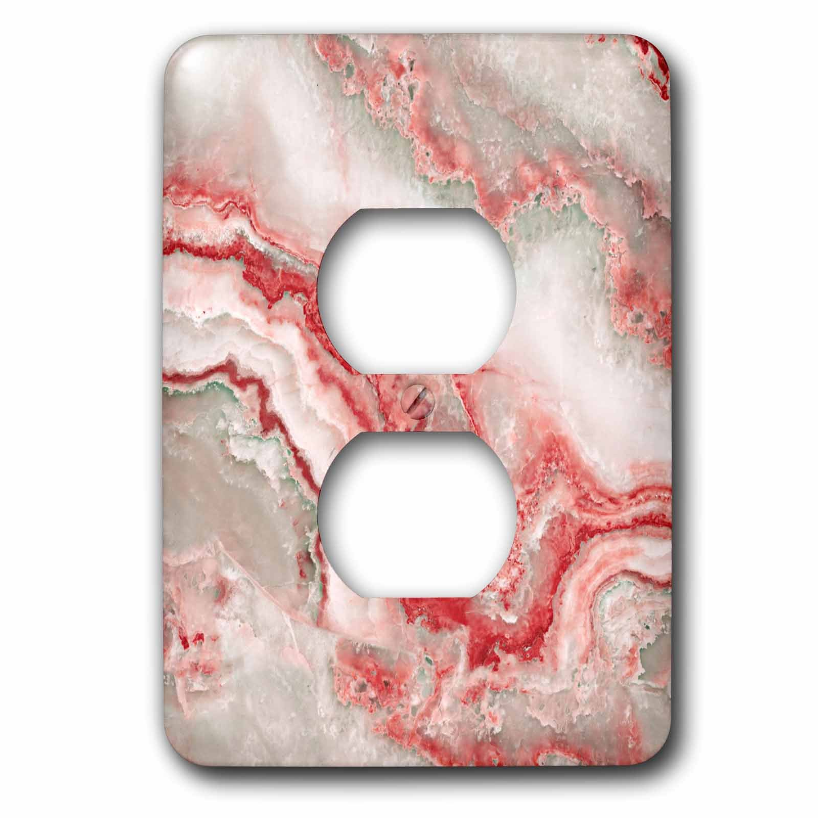 3dRose Uta Naumann Faux Glitter Pattern - Image of Trendy Luxury Orange Red Quartz and Gray Gemstone Agate Geode - Light Switch Covers - 2 plug outlet cover (lsp_275125_6)