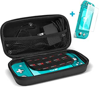 ProCase Nintendo Switch Lite Case with Screen Protector, Hard Shell Travel Carrying Case for Nintendo Switch Lite 2019 with 10 Game Cards Holders –Black