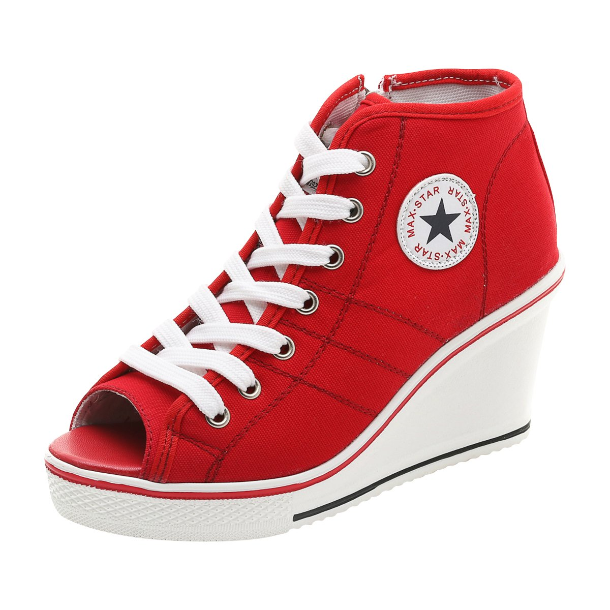 Padgene Women's Canvas High-Heeled Shoes Lace Up Fashion Sneakers Platform Wedges Pump Shoes B07BTT61XD 5 B(M) US Red