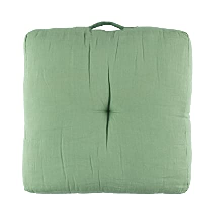 Filocolore COJ252 Cojín de Suelo, Lino, Verde, 50x50x10 cm