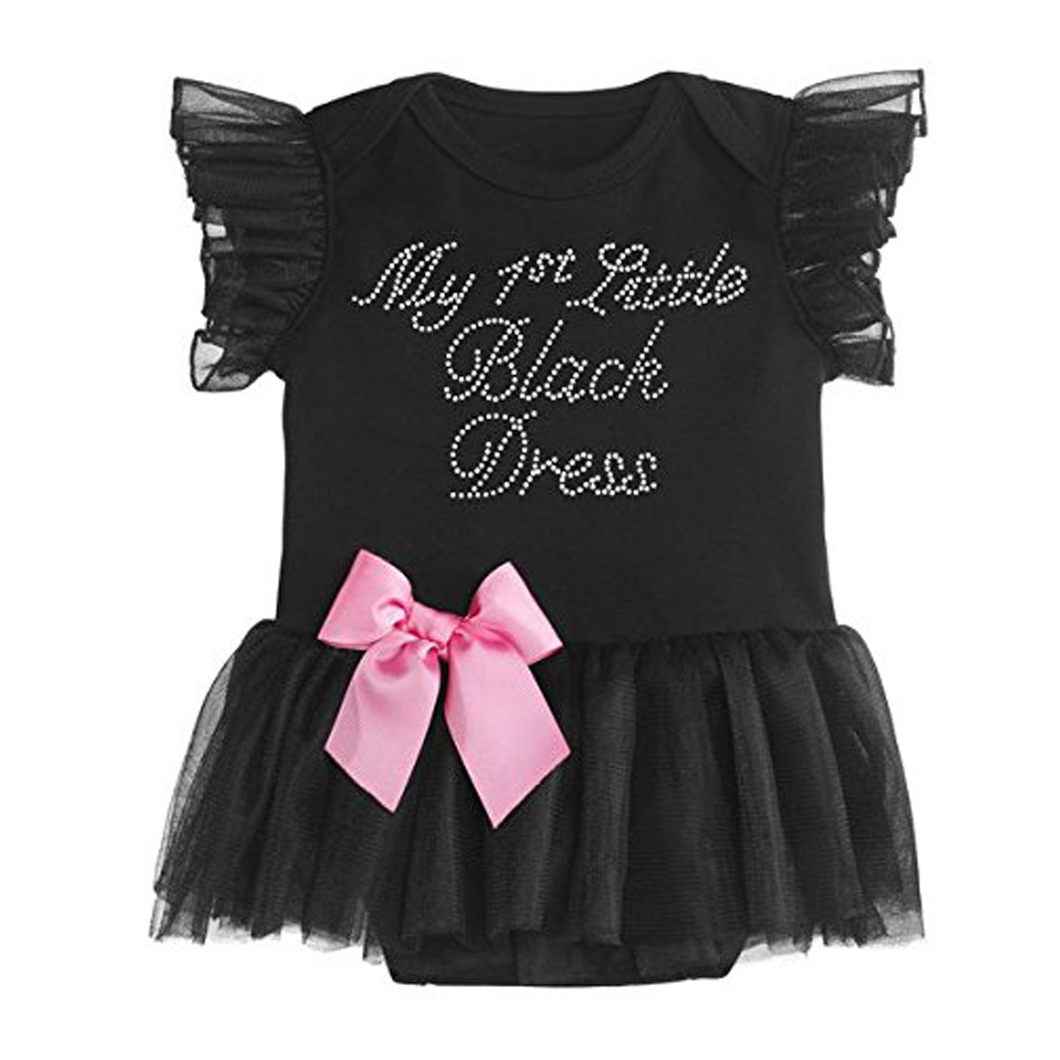 My 1st Little Black Dress Infant Onesie With Pink Bow - By Ganz (0-6 Months) ER38058