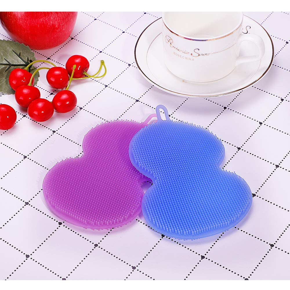 Silicone Sponge Multipurpose Antibacterial Silicone Scrubber for Kitchen Brush Pot Pan Dish Bowl -Wash Fruit and Vegetable -Pot Holder-Pack of 2