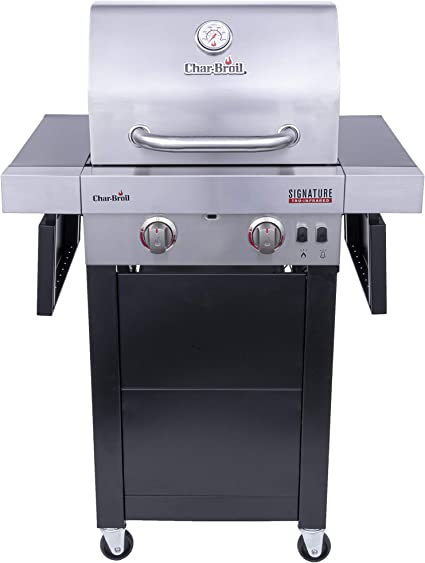 Amazon Com Char Broil 463632320 Signature Tru Infrared 2 Burner Cart Style Gas Grill Stainless Black Garden Outdoor