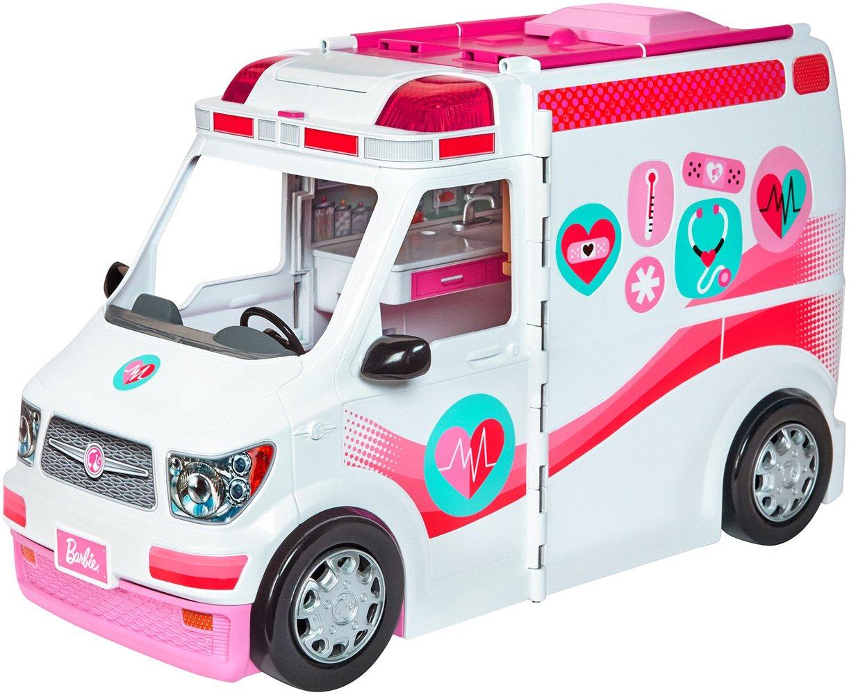 Barbie Véhicule Médical Rose et Blanc pour Poupée, Voiture Ambulance Transformable en Hôpital avec Plus de 20 Accessoires, Jouet pour Enfant, FRM19 Mattel