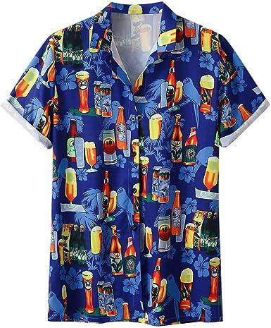 Camisa Hawaiana de Manga Corta - para Hombre - Cerveza y Playa - Todas Las Tallas: Amazon.es: Ropa y accesorios