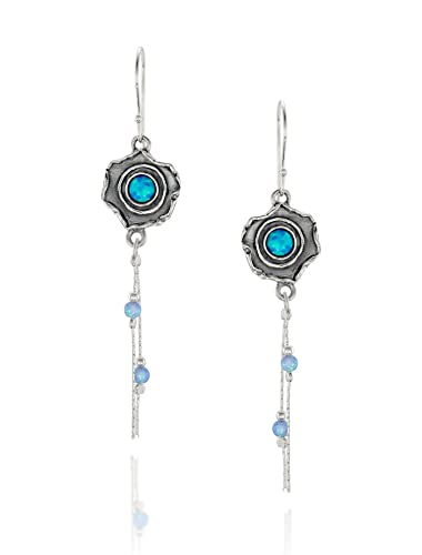 59e8940c1 Image Unavailable. Image not available for. Color: Vintage Look Flower  Dangle Earrings 925 Sterling Silver ...
