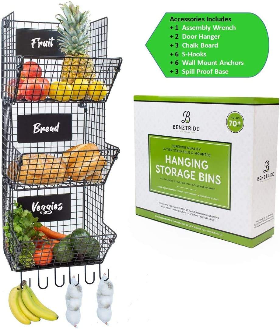 BENZTRIDE 3-Tier Hanging Fruit Basket Wire Shelves + 6 Banana Hanger S-Hooks + 3 Chalkboard Signs - Thick Metal Pantry Organization and Storage Rack for Produce Laundry Bathroom Garage Wall