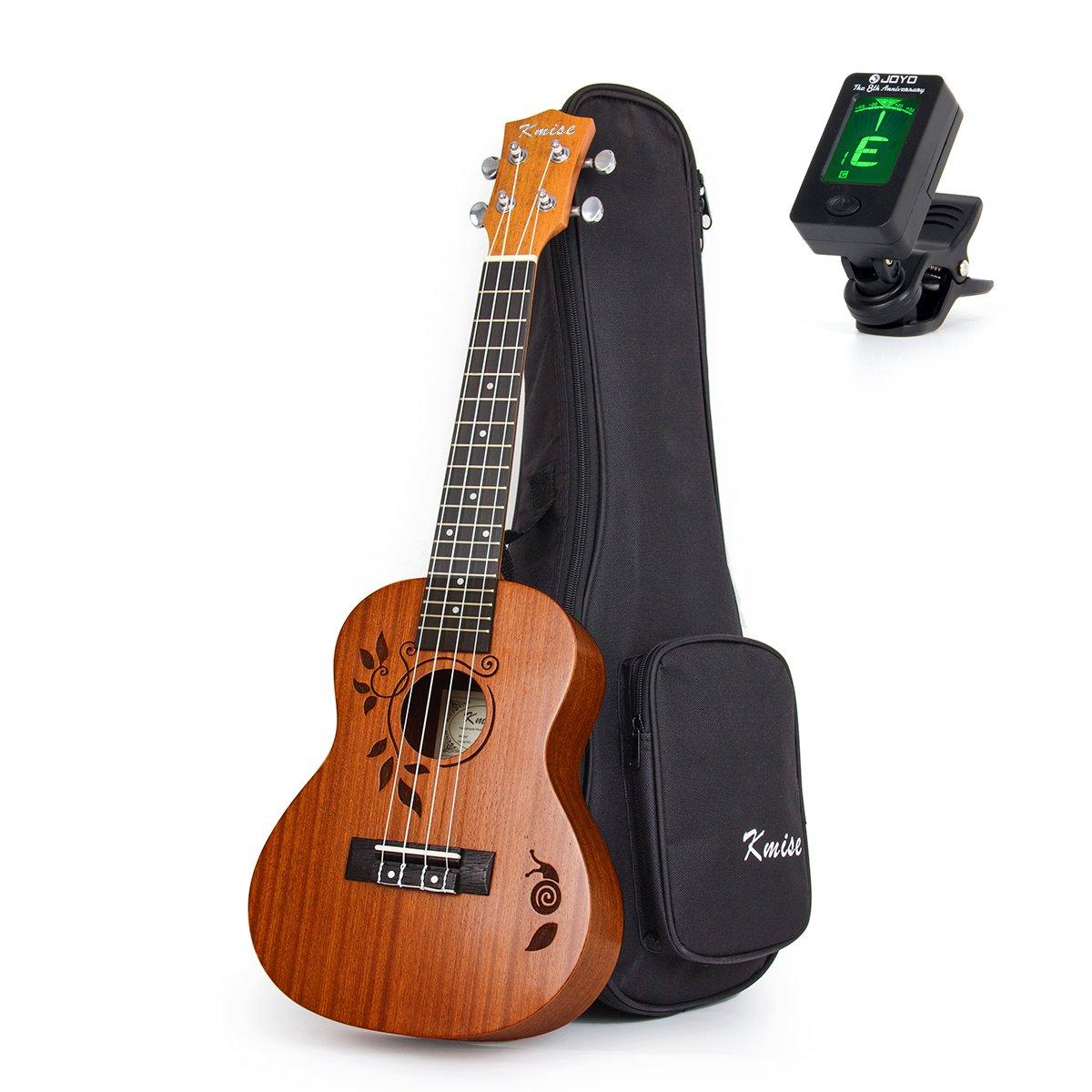 Kmise Concert Ukulele Uke Acoustic Hawaiian Guitar 23 Inch 18 Frets Mahagany With Ukelele Bag and Tuner by Kmise