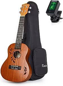 Concert Ukulele Deluxe Sapele Ukelele 23 Inch 18 Frets Uke Acoustic Hawaiian Guitar Woodcut Leaf Pattern with Bag Tuner From Kmise