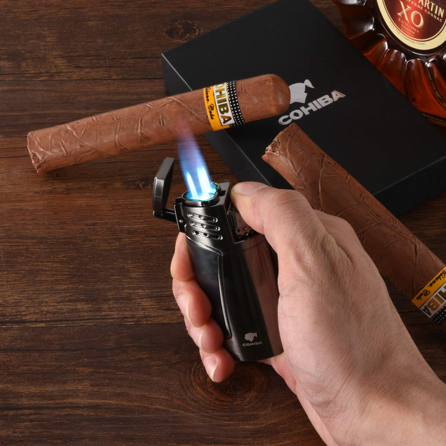 Cigar Lighter, Triple 3 Jet Flame Refillable Butane Torch Lighter with Punch by CigarMaster (Image #7)