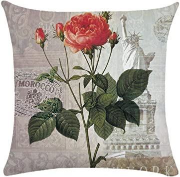 Image ofCaogsh - 2 fundas de almohada de felpa corta para cojín lumbar, sofá, almohada, almohada retro con diseño de pájaros y flores, algodón mixto, Zt002752, 50x50cm(Double-sided printing)
