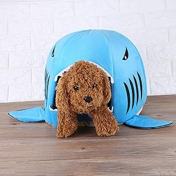 Filfeel Casa de perro Gato Cueva suave Forma de tiburón de moda Cálida cama para dormir