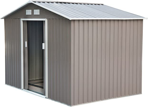 Outdoor Garden Tool Storage Shed Backyard Steel Patio Lawn Utility White 3 Size