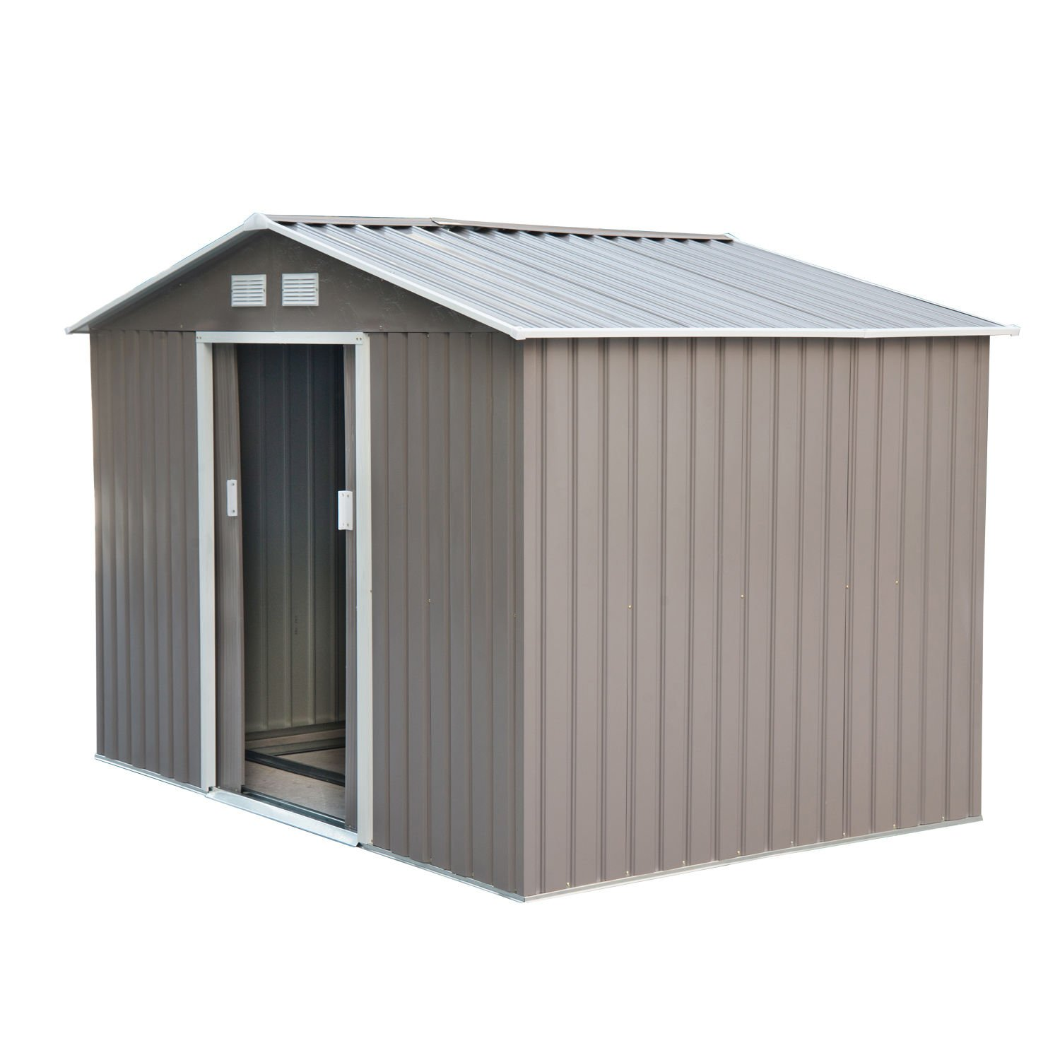Outsunny 9' x 6' Outdoor Backyard Metal Garden Utility Storage Shed - Gray/White by Outsunny