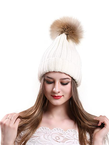 f7f7427f763fa CR Womens Winter Fur Hats Real Raccoon Fur Pom Pom Girls Knit Beanie ...