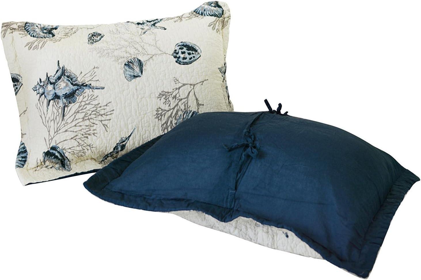 Brandream 100/% Cotton Pillow Cases Nautical Navy Blue Seashells Pillow Shams 2-Piece