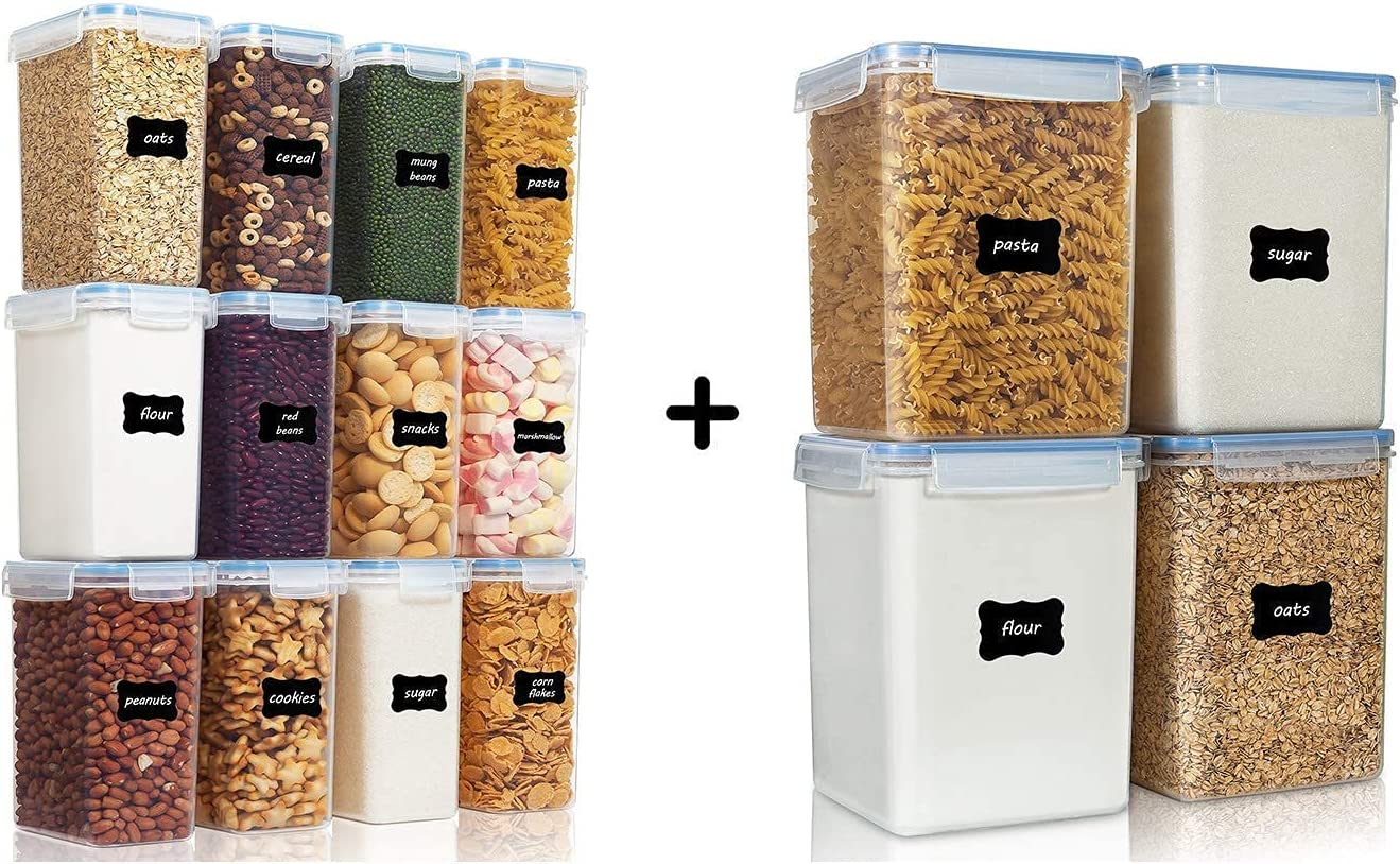 Vtopmart 12pcs Airtight Flour Containers and 4pcs Large Food Containers