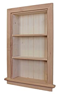14x24 Unfinished Recessed Aiden Wall Niche Fox Hollow Furnishings - (Also Available in White, Dark Brown Gray)