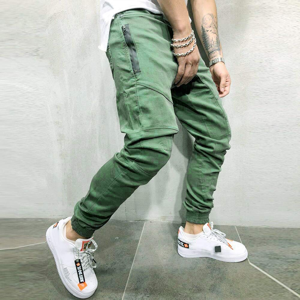 Mens New Pure Colored Loose Multi-Pocket Workwear Pants Tether Trousers