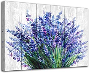 "arteWOODS Lavender Wall Art Blue Flowers Watercolor Painting Canvas Picture for Bathroom Bedroom Wall Decor Modern Blossom Canvas Art for Home Decoration 20"" x 28"""