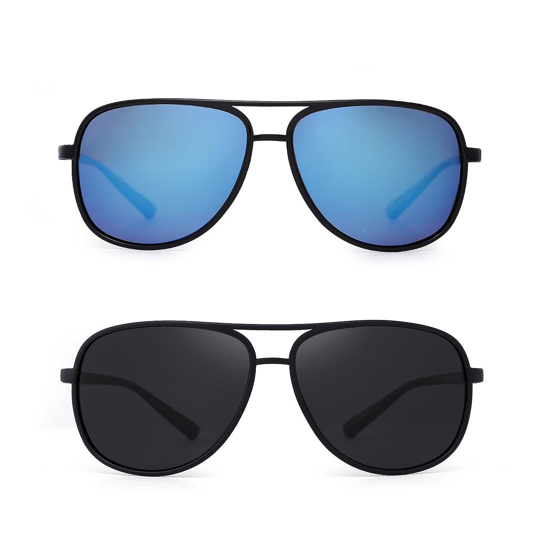 JM Gafas de Sol Retro Polarizadas Aviador de Espejo Peso Ligero Anteojos Para Hombre Mujer