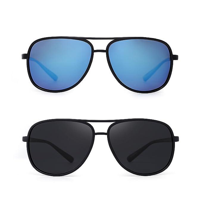 JM Retro Polarizadas Aviator Gafas de Sol Espejo Ligero Peso Anteojos Para Hombre Mujer 2 Paquete