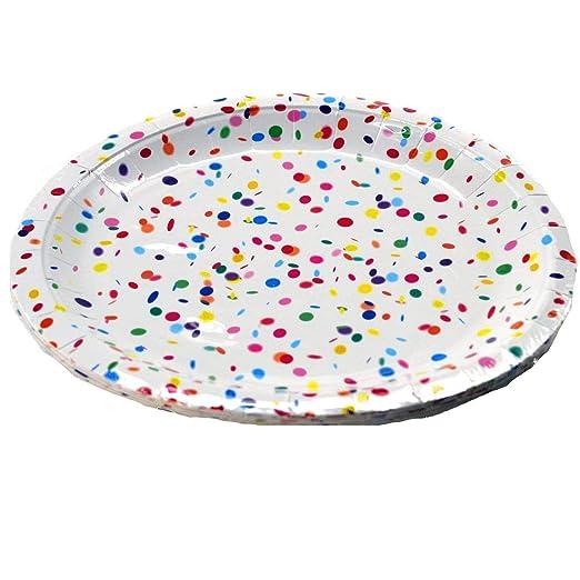 Topten Fiesta Platos de Papel Confeti 24 cm Diámetro ...
