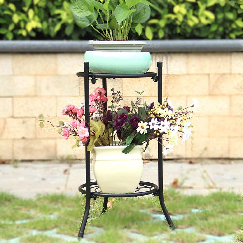 Ccf Flower Rack Iron Art Due Piani Balcone Soggiorno Vaso di Fiori al Coperto (colore   Nero, Dimensioni   L31CMH50CM)