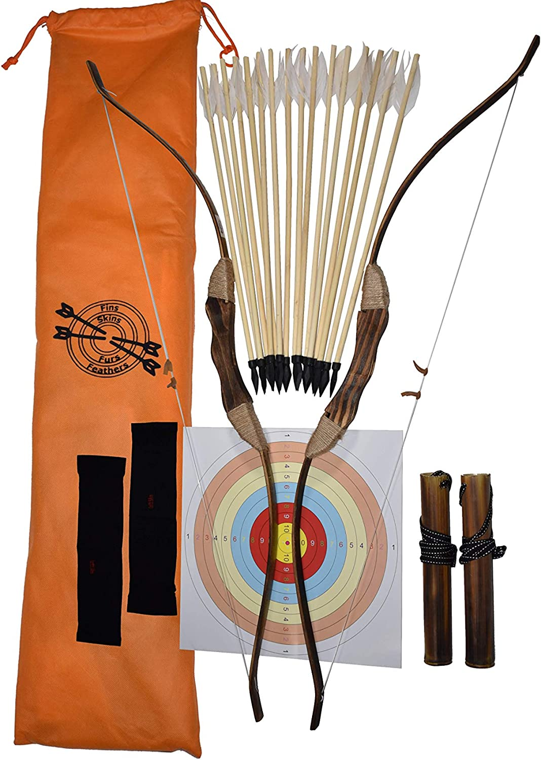 Girl Beginner Archery Set for Kids FSFF Enhanced Wooden Bow and Arrow for Kids 2-Bows 2-Four Arrow quivers 16-Arrows w// Feathers 10-Large Targets /& 2-armguards Great Archery Set for Youth boy