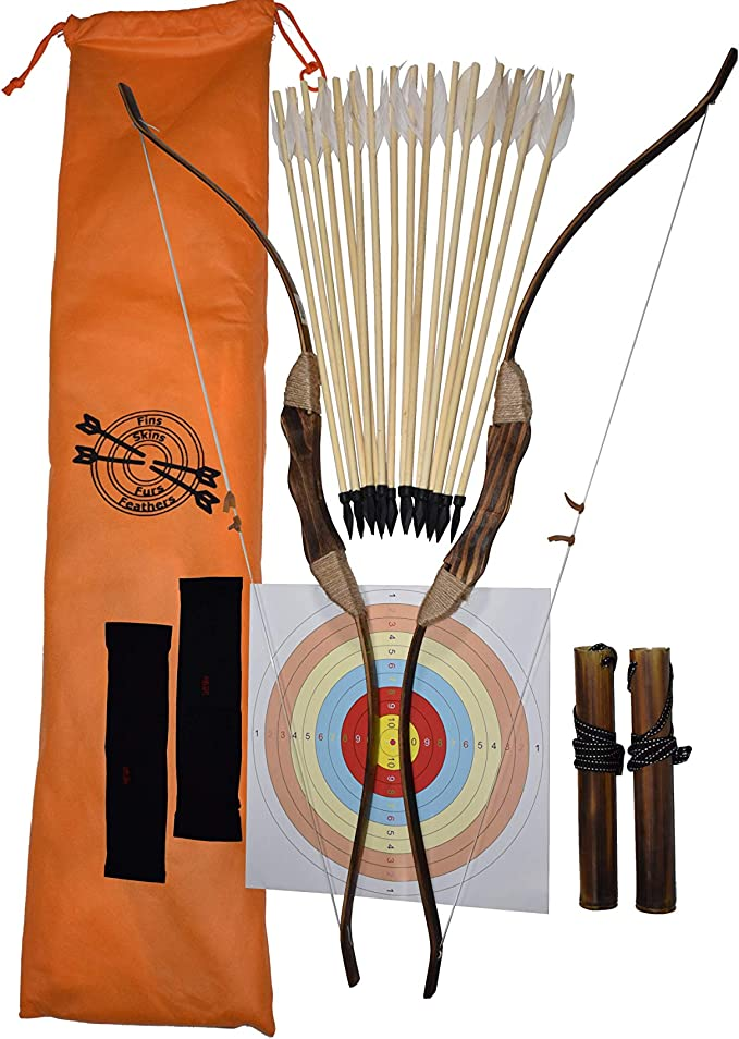 2-Pack Handmade Wooden Bow and Arrow Set-24 Wood Arrows and 2 Quiver