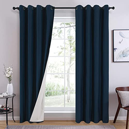 Topfinel Navy 100 Blackout Curtains 52 x 96 Inches Long for Bedroom Living Room Solid Grommet Room Darkening Darpes, 2 Panels