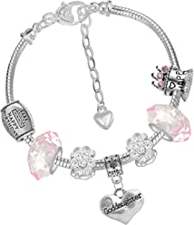 530cd4363 Charm Buddy Girls' Goddaughter Pink Silver Crystal Glass Pandora Style  Charm Bracelet with Gift Bag
