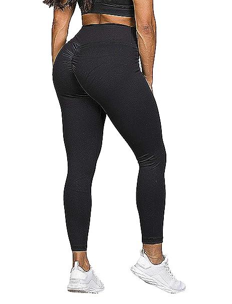 d5a0c1ee SEASUM Women Scrunch Butt Yoga Pants Leggings High Waist Waistband Workout  Sport Fitness Gym Tights Push
