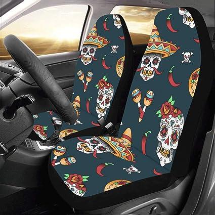 Artsadd Mexican Sugar Skulls Fabric Car Seat Covers Set Of 2 Best Automobile Seats