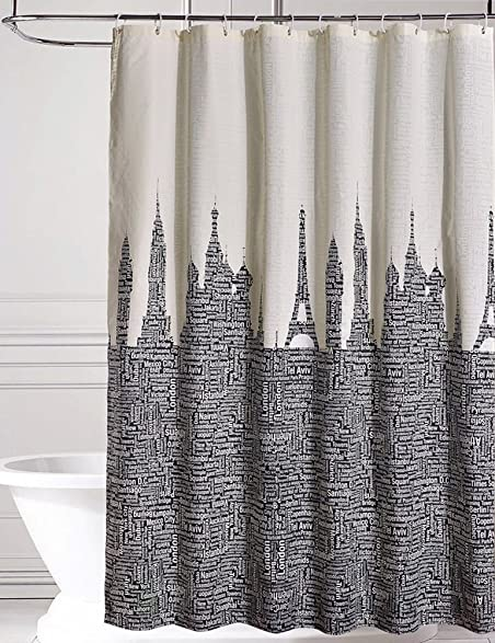 Black And Cream Shower Curtain. Fabric Shower Curtain by LanMeng  Words of Places Across the World Mildew Resistant Waterproof Amazon com