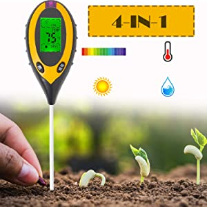 HSTMYFS Soil pH Meter, Soil Tester Kits for Garden, Farm, Lawn, Indoor & Outdoor (Yellow (4-in-1))