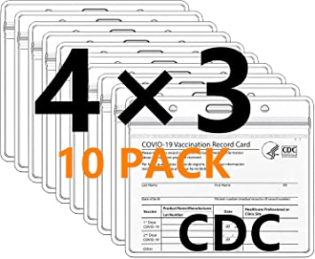 4x3 CDC Vaccine Card Holder,3x4 Inches immunization Record Card Protector Waterproof,Vaccine Cards Clear Vinyl Plastic Sleeve with Waterproof Type Resealable Zip- 10 Pack
