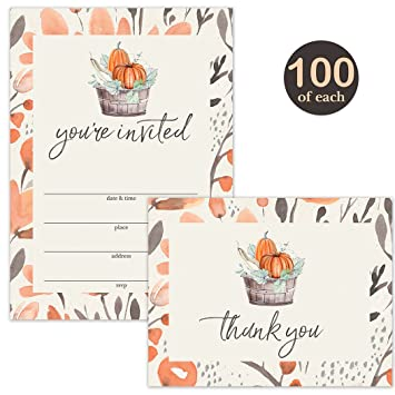 Amazon Com Thanksgiving Dinner Invitations 100 Folded Thank