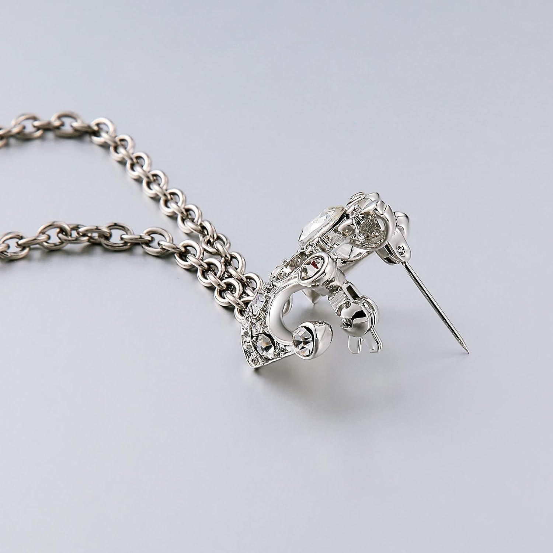 Aienid 17x3.5 cm Edelstahl Brosche zum Damen Krone Silber