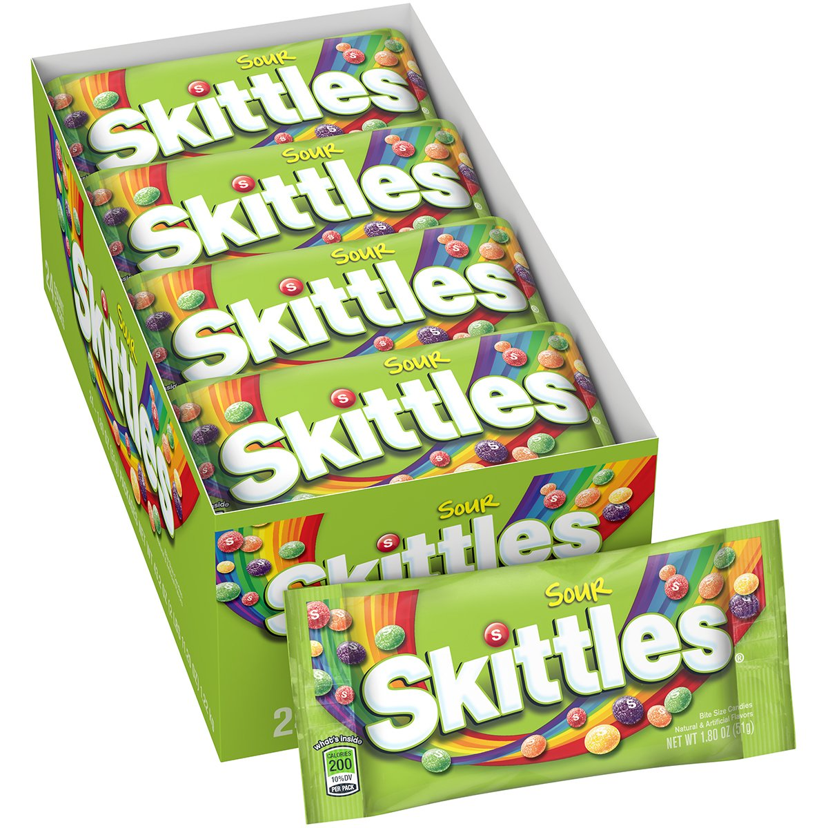 Skittles Sour Candy, 1.8 ounce (24 Single Packs) by Skittles