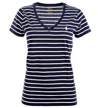 42bd3f99702bf8 Ralph Lauren Polo Damen V-Neck Shirt T-Shirt dunkelblau-weiß gestreift Größe