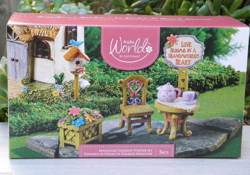 CHSGJY 5 Pce Grandma Figurine Starter Gift Set Miniature Dollhouse Fairy Garden Accessories
