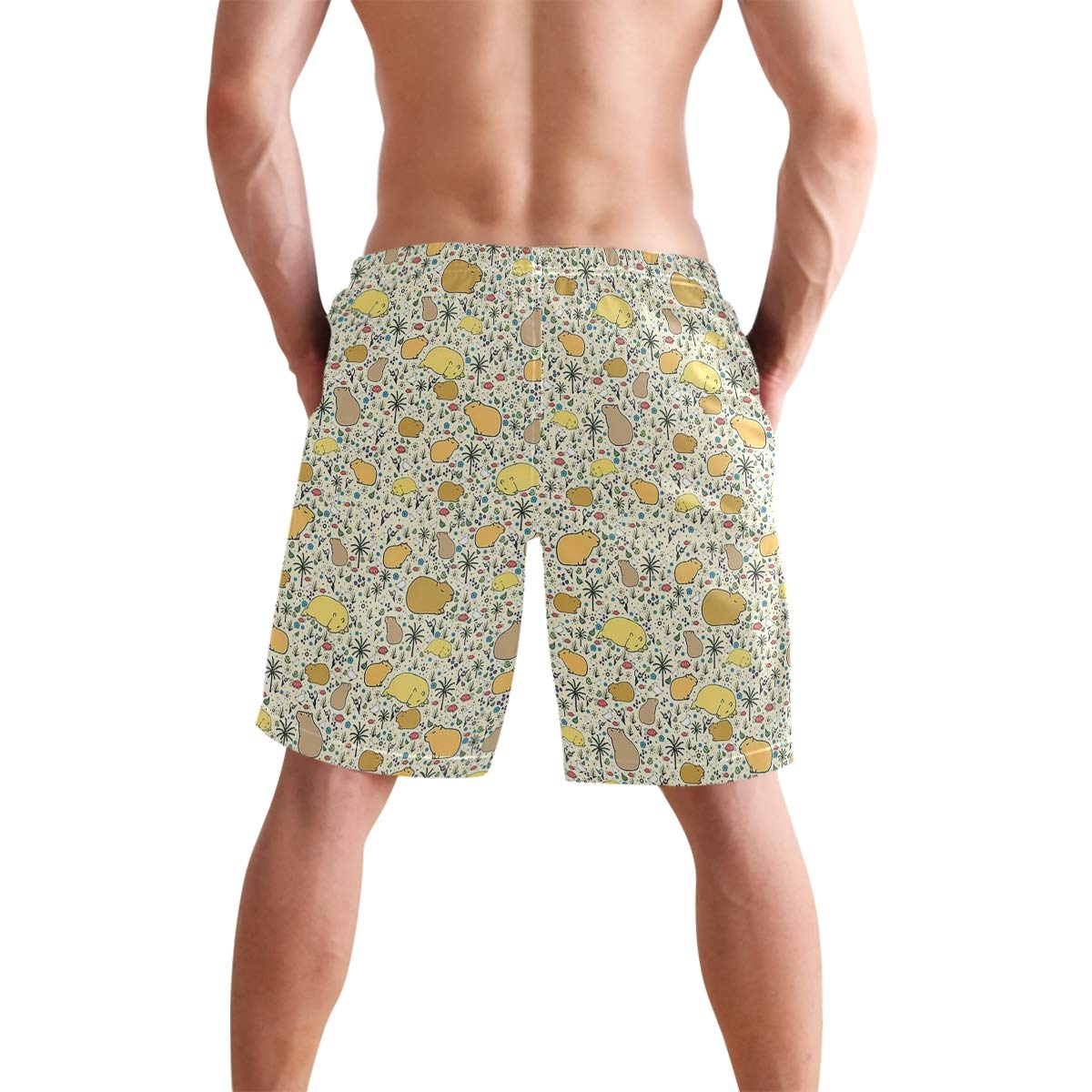 Mens Swim Trunks Summer 3D Print Capybaras in Gold Casual Athletic Swimming Short