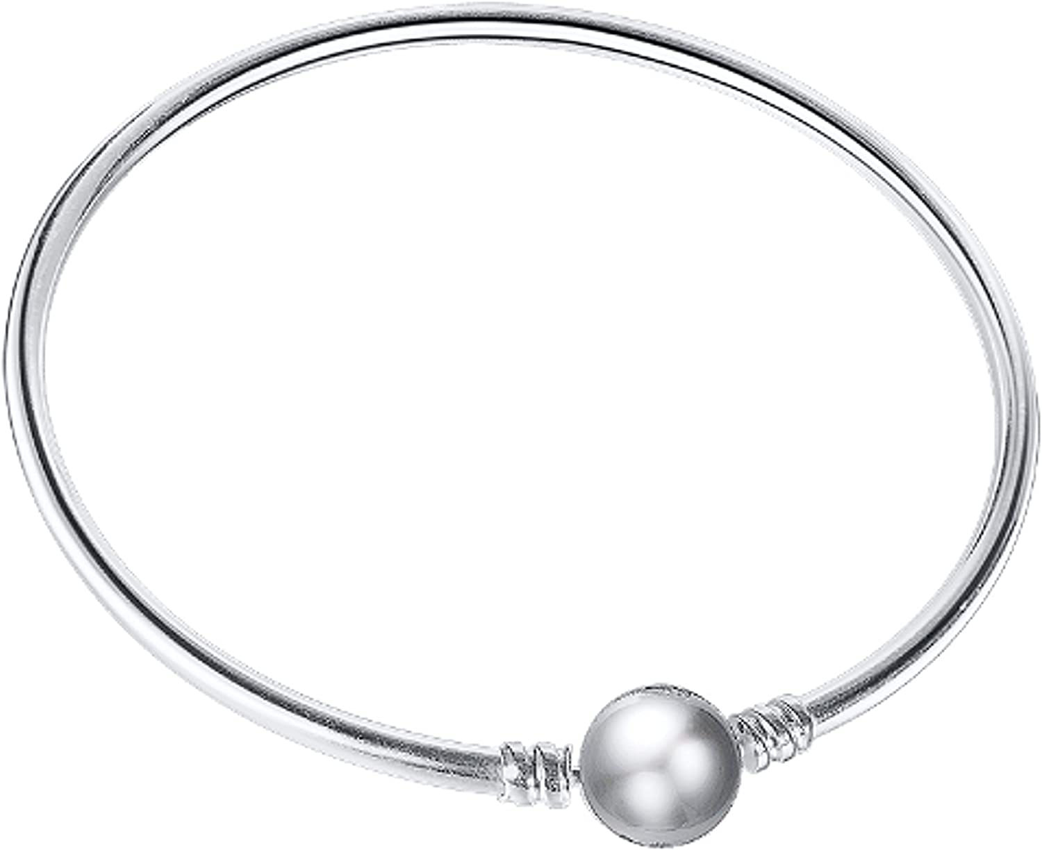 925 Sterling Silver 3mm Fitted Bangle 18cm = 7.09in.